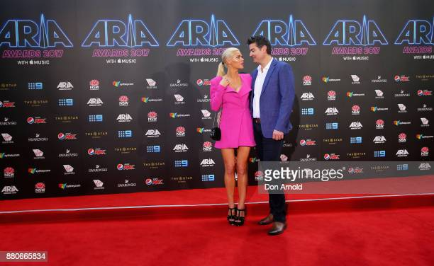 Sophie Monk and Stu Laundy arrives for the 31st Annual ARIA Awards 2017 at The Star on November 28 2017 in Sydney Australia