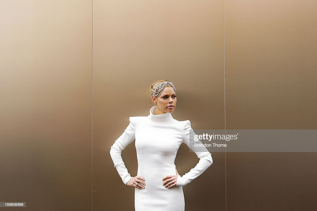 Sophie Monk arrives at the Melbourne Cup at Flemington Racecourse on November 6, 2012 in Melbourne, Australia.