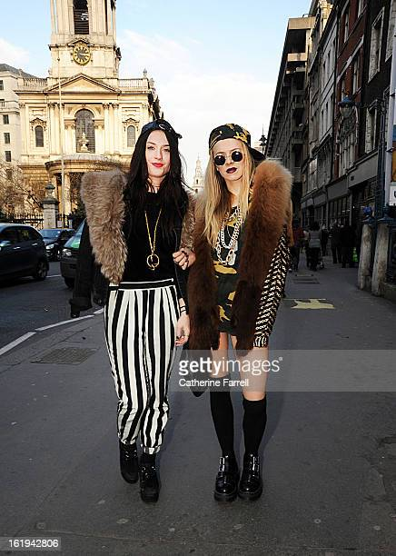 Sophie O Connor and Jessica Hartwell from London Sophie wearing DNKY jacket Vintage fur stole from Portobellotwo toned striped River Island trousers...