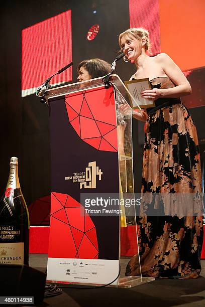 Sophie Okonedo and AnneMarie Duff on stage during The Moet British Independent Film Awards at Old Billingsgate Market on December 7 2014 in London...