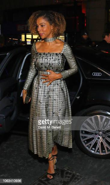 Sophie Okonedo arrive in Audi at Evening Standard Theatre Awards at the Theatre Royal Drury Lane on November 18 2018 in London England