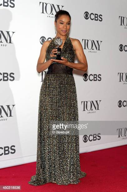 Sophie Okonedo poses in the press room during the American Theatre Wing's 68th Annual Tony Awards at Radio City Music Hall on June 8 2014 in New York...