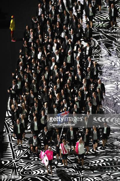 Sophie Pascoe flag bearer of New Zealand arrives with the New Zealand team during the Opening Ceremony for the Gold Coast 2018 Commonwealth Games at...
