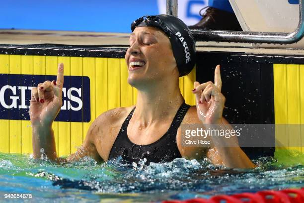 Sophie Pascoe of New Zealand celebrates after victory in the Women's SB9 100m Breaststroke Final on day five of the Gold Coast 2018 Commonwealth...