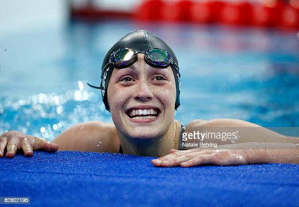 Sophie Pascoe of New Zealand celebrates her gold medal win in the women's 100 meter backstroke S10 final Swimming event at the National Aquatics...