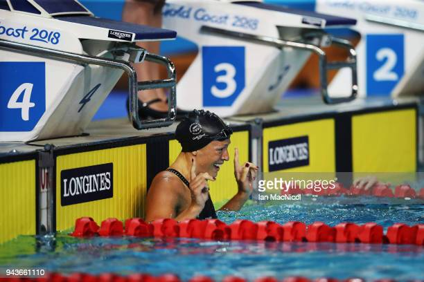 Sophie Pascoe of New Zealand celebrates winning the Women's SB9 100m Breaststroke on day five of the Gold Coast 2018 Commonwealth Games at Optus...
