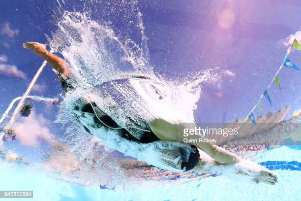 Sophie Pascoe of New Zealand competes during the Women's SM10 200m IM Heat 2 on day three of the Gold Coast 2018 Commonwealth Games at Optus Aquatic...