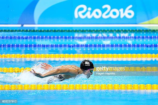 Sophie Pascoe of New Zealand competes in the Women's 100m Butterfly S10 final on day 5 of the Rio 2016 Paralympic Games at Olympic Stadium on...