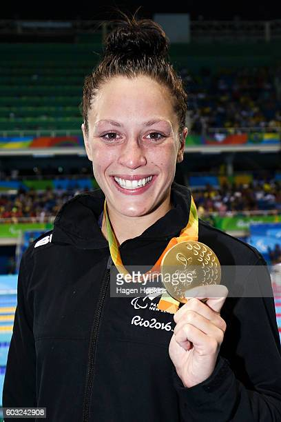 Sophie Pascoe of New Zealand poses with her gold medal after winning the Women's 100m Butterfly S10 final on day 5 of the Rio 2016 Paralympic Games...