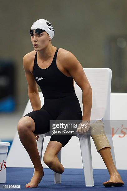 Sophie Pascoe of New Zealand prepares to compete in the Women's 100m Butterfly S10 Final on day 3 of the London 2012 Paralympic Games at Aquatics...