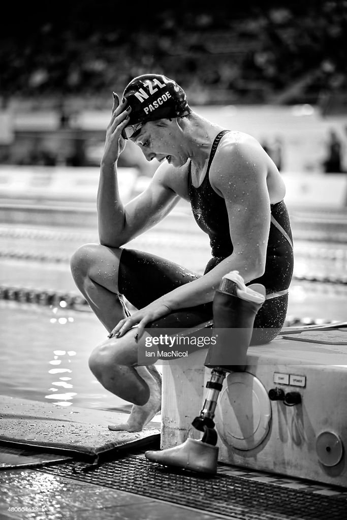 Sophie Pascoe of New Zealand reacts after she competes in the Final of the Women's 100m Butterfly S8 during Day One of The IPC Swimming World Championships at Tollcross Swimming Centre on July 13, 2015 in Glasgow, Scotland.