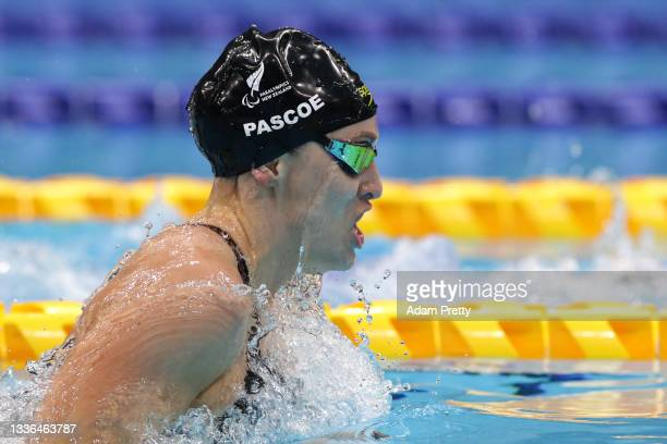 Sophie Pascoe of Team New Zealand competes in the Women's 100m Breaststroke - SB8 Final on day 2 of the Tokyo 2020 Paralympic Games at the Tokyo...