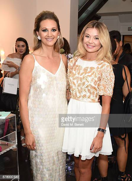 Sophie Pycroft and Georgia Toffolo attend as beauty brand Spectrum Collections launch their AW16 Bomb Shell in Soho on July 21 2016 in London England
