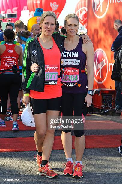 Sophie Raworth and Jenni Falconer poses for photographs ahead of the Virgin Money London Marathon on April 13 2014 in London England