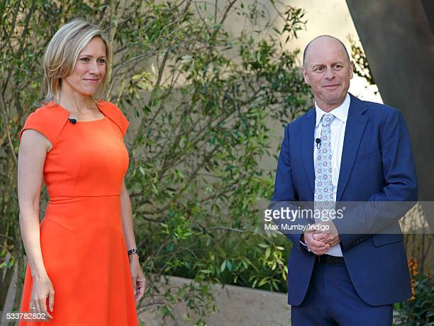 Sophie Raworth and Joe Swift attend the RHS Chelsea Flower Show press day at the Royal Hospital Chelsea on May 23 2016 in London England