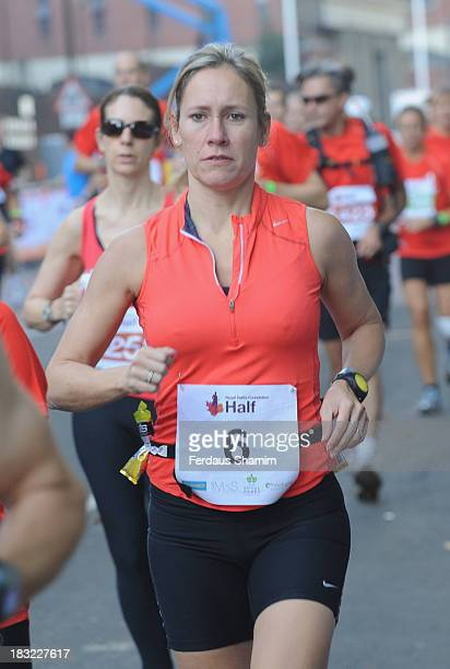 Sophie Raworth attends the Royal Parks Foundation Half Marathon at Hyde Park on October 6 2013 in London England