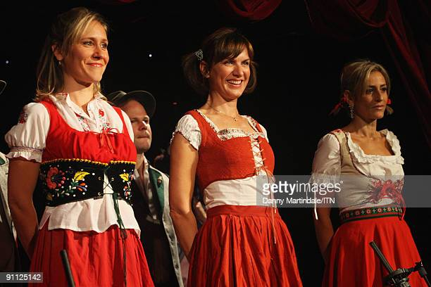 Sophie Raworth Fiona Bruce and Emily Maitlis of the BBC news team performs at the 'Newsroom�s Got Talent' event held in aid of Leonard Cheshire...