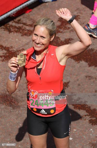 Sophie Raworth poses for a photo after completing the Virgin London Marathon on April 23 2017 in London England