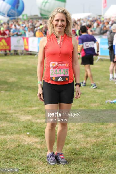 Sophie Raworth poses for a photo ahead of participating in The Virgin London Marathon on April 23 2017 in London England