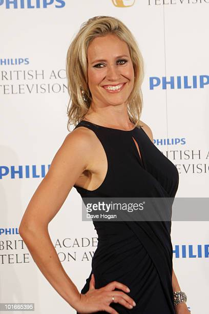 Sophie Raworth poses in front of the winners boards at The Philips British Academy Television Awards held at The Palladium on June 6 2010 in London...