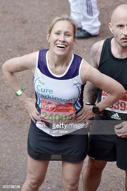Sophie Raworth poses with her medal after completing the Virgin Money London Marathon on April 24 2016 in London England