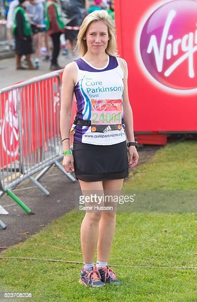 Sophie Raworth starts the Virgin London Marathon 2016 on April 24 2016 in London England