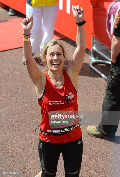 Sophie Raworth takes part in the Virgin London Marathon on April 21 2013 in London England