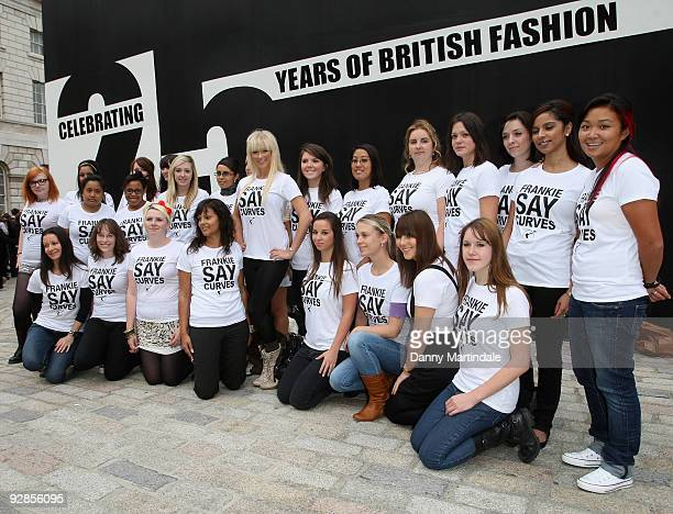 Sophie Reade attends a photocall to protest against size discrimination in the modelling industry during London Fashion Week at Somerset House on...