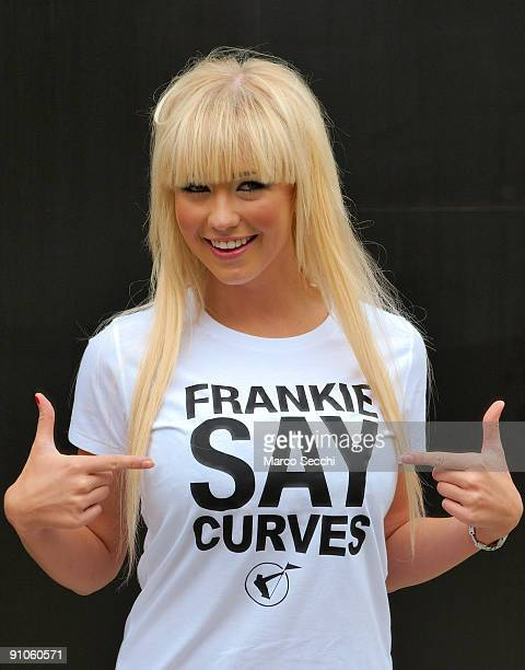 Sophie Reade model and winner of 'Big Brother' 2009 wears a Tshirt with the slogan Frankie Say Curves at Somerset House during London Fashion Week on...