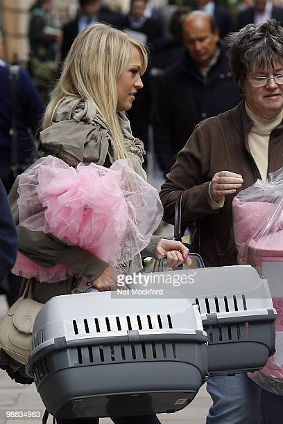 Sophie Reade sighted leaving Pet London with her two Chihuahuas on May 4 2010 in London England