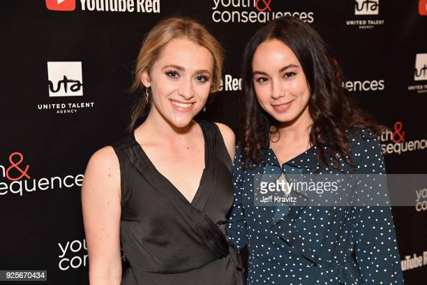 Sophie Reynolds and Savannah Jayde attend the YouTube Red Originals Series 'Youth Consequences' screening on February 28 2018 in Los Angeles...