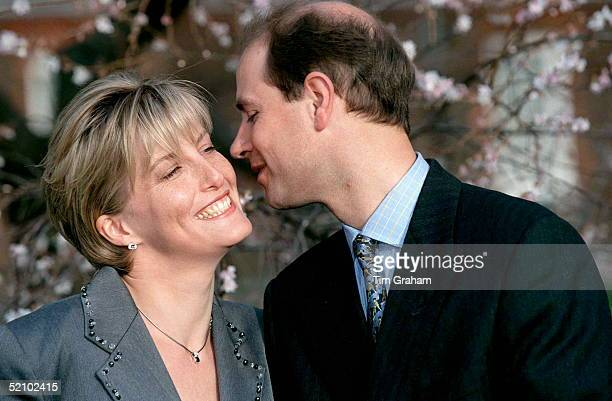 Sophie Rhysjones And Prince Edward Kissing On The Day Of Their Engagement