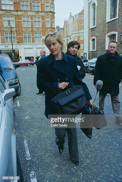Sophie Rhys-Jones arrives at work a few days after the announcement of her engagement to Prince Edward, later the Earl of Wessex, UK, 11th January...