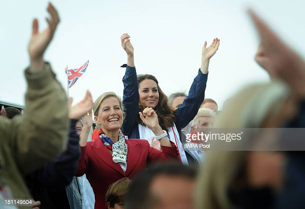 Sophie Rhys-Jones, Countess of Wessex and Catherine, Duchess of Cambridge celebrate as Paralympic GB's LTA mixed coxed four win a gold medal during...