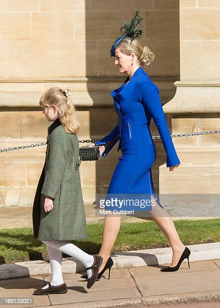 Sophie RhysJones Countess of Wessex and Lady Louise Windsor attend The Easter Matins Service At Windsor Castle on March 31 2013 in Windsor England