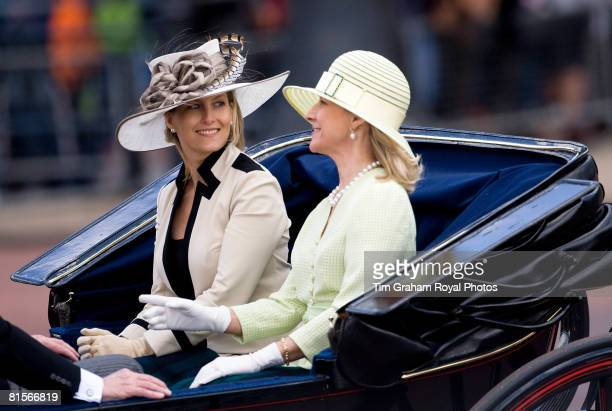 Sophie RhysJones Countess of Wessex and the Duchess of Gloucester travel in a horse drawn carriage during the Trooping The Colour outside Buckingham...