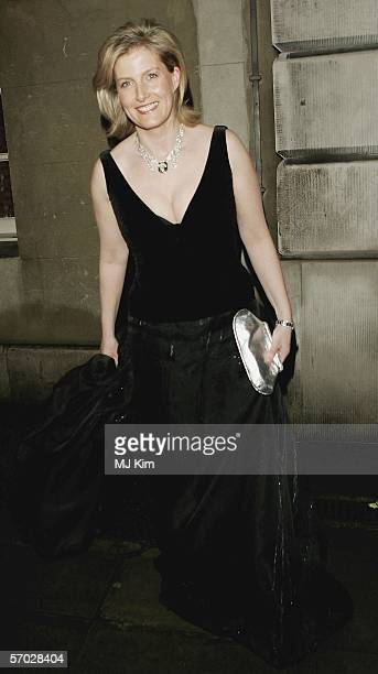 Sophie Rhys-Jones, Countess of Wessex arrives at the ChildLine & Mission Enfance Royal gala dinner at Banqueting House on March 8, 2006 in London,...