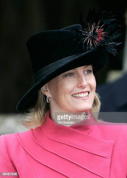 Sophie RhysJones Countess of Wessex attends Christmas Day service at Sandringham Church on December 25 2005 in King's Lynn England