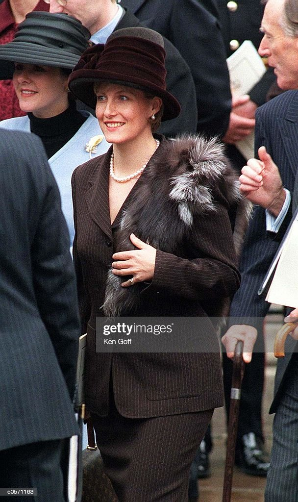 Sophie Rhys-Jones, friend of Britain's Prince Edward, attending services at Westminster Abbey celebrating the golden wedding anniversary of Queen Elizabeth and Prince Philip.