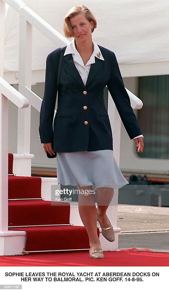 Sophie Rhys-Jones, friend of Britain's Prince Edward, leaving the Royal Yacht at Aberdeen Docks on her way to Balmoral.