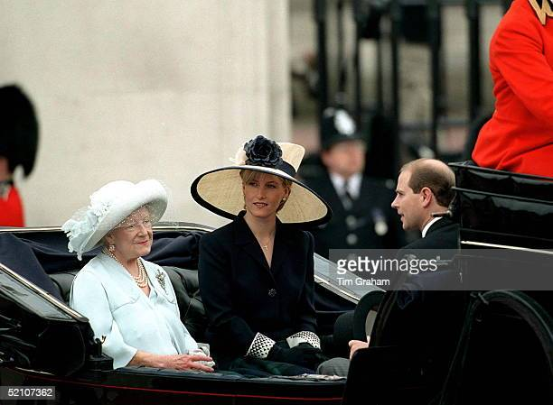 Sophie Rhysjones Joins Prince Edward And The Queen Mother For The First Time For The Trooping The Colour Procession London