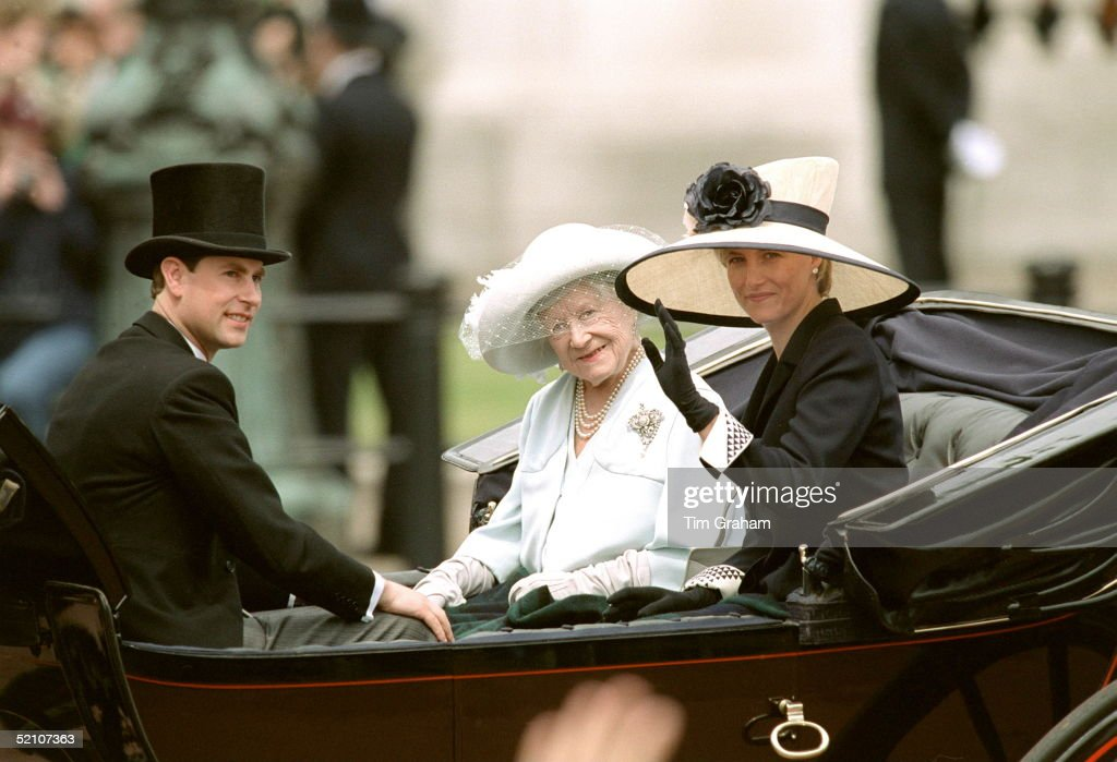 Sophie Rhys-jones Joins Prince Edward And The Queen Mother For The First Time In The Trooping The Colour Procession.