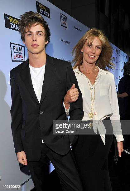 Sophie Robinson and son Willoughby Robinson arrive at The Rum Diary Los Angeles Premiere held at the LACMA Bing Theater on October 13 2011 in Los...