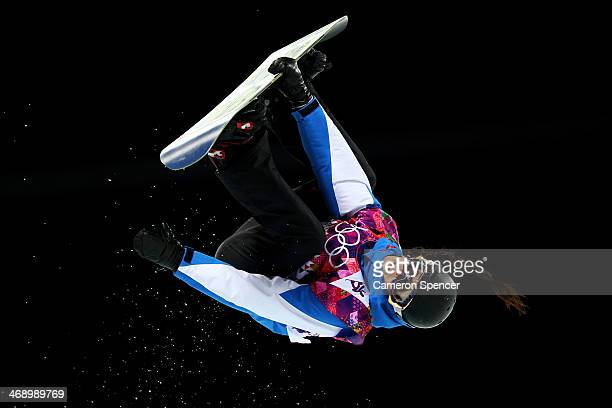 Sophie Rodriguez of France competes in the Snowboard Women's Halfpipe Finals on day five of the Sochi 2014 Winter Olympics at Rosa Khutor Extreme...
