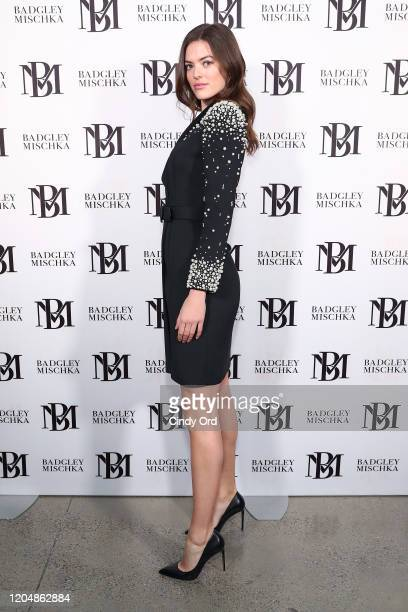 Sophie Rubinstein poses backstage for Badgley Mischka during New York Fashion Week: The Shows at Gallery I at Spring Studios on February 08, 2020 in...