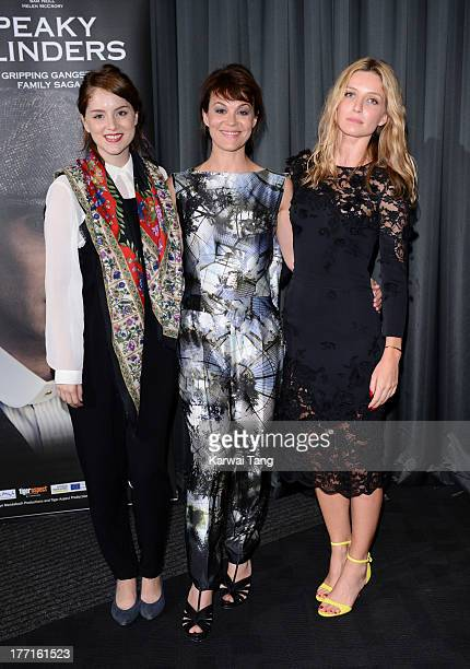 Sophie Rundle Helen McCrory and Annabelle Wallis attend the screening of 'Peaky Blinders' held at the BFI Southbank on August 21 2013 in London...
