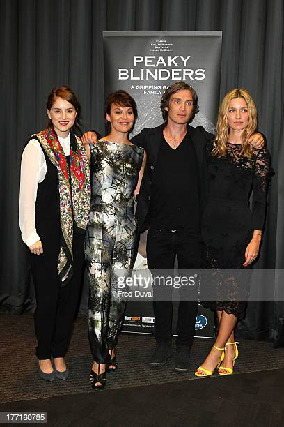 Sophie Rundle Helen McCrory Cillian Murphy and Annabelle Wallis attend the premiere of 'Peaky Blinders' at National Film Theatre on August 21 2013 in...
