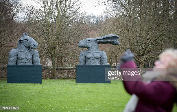 Sophie Ryder's sculpture Minotaur and Hare Torso that has been installed in the grounds of Salisbury Cathedral is seen as part of an exhibition by...