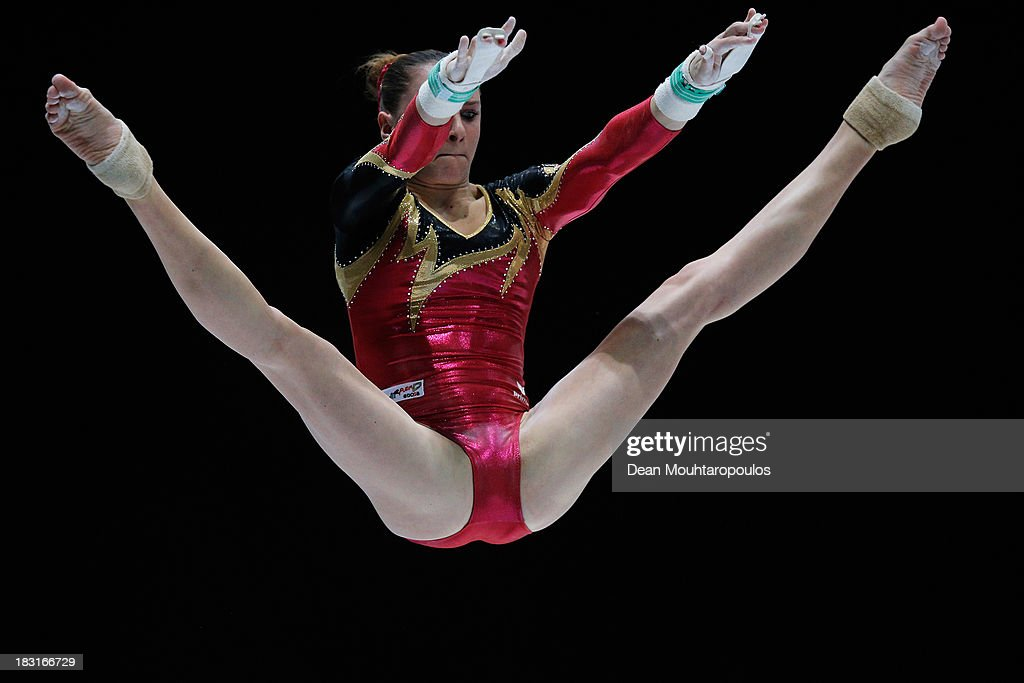 Sophie Scheder of Germany competes in the Uneven Bars Final on Day Six of the Artistic Gymnastics World Championships Belgium 2013 held at the Antwerp Sports Palace on October 5, 2013 in Antwerpen, Belgium.