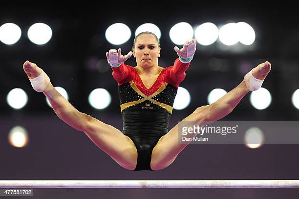 Sophie Scheder of Germany competes on the Uneven Bars in the Women's Individual AllAround final on day six of the Baku 2015 European Games at...